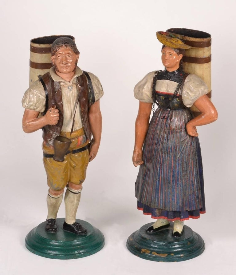 Pair of Tole Figures, circa 1820-1840 For Sale 4
