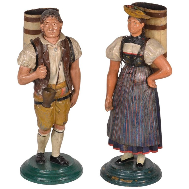 Pair of Tole Figures, circa 1820-1840 For Sale