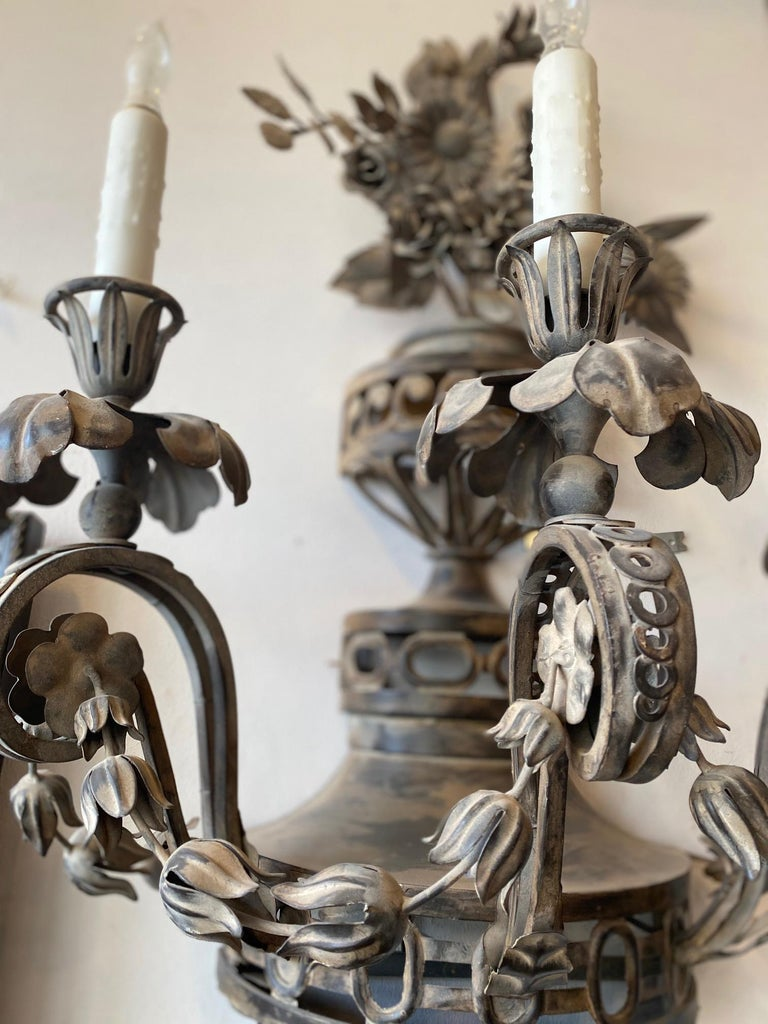 20th Century Pair of Tole French Wall Sconces For Sale