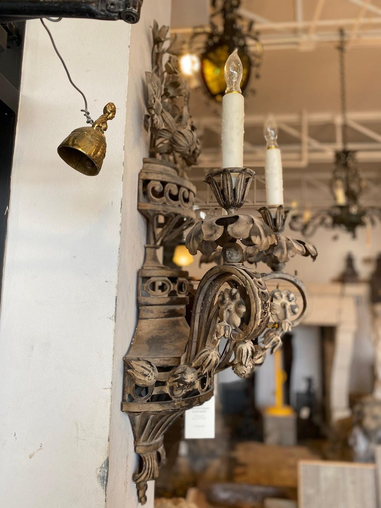 Pair of Tole French Wall Sconces For Sale 1