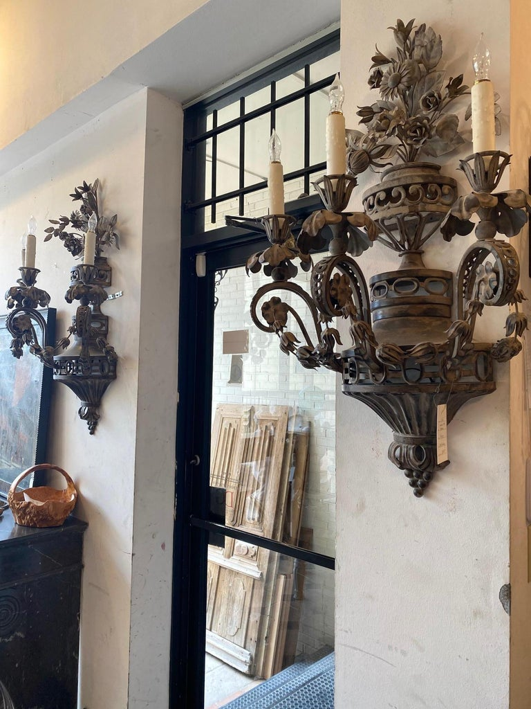 Pair of Tole French Wall Sconces For Sale 2