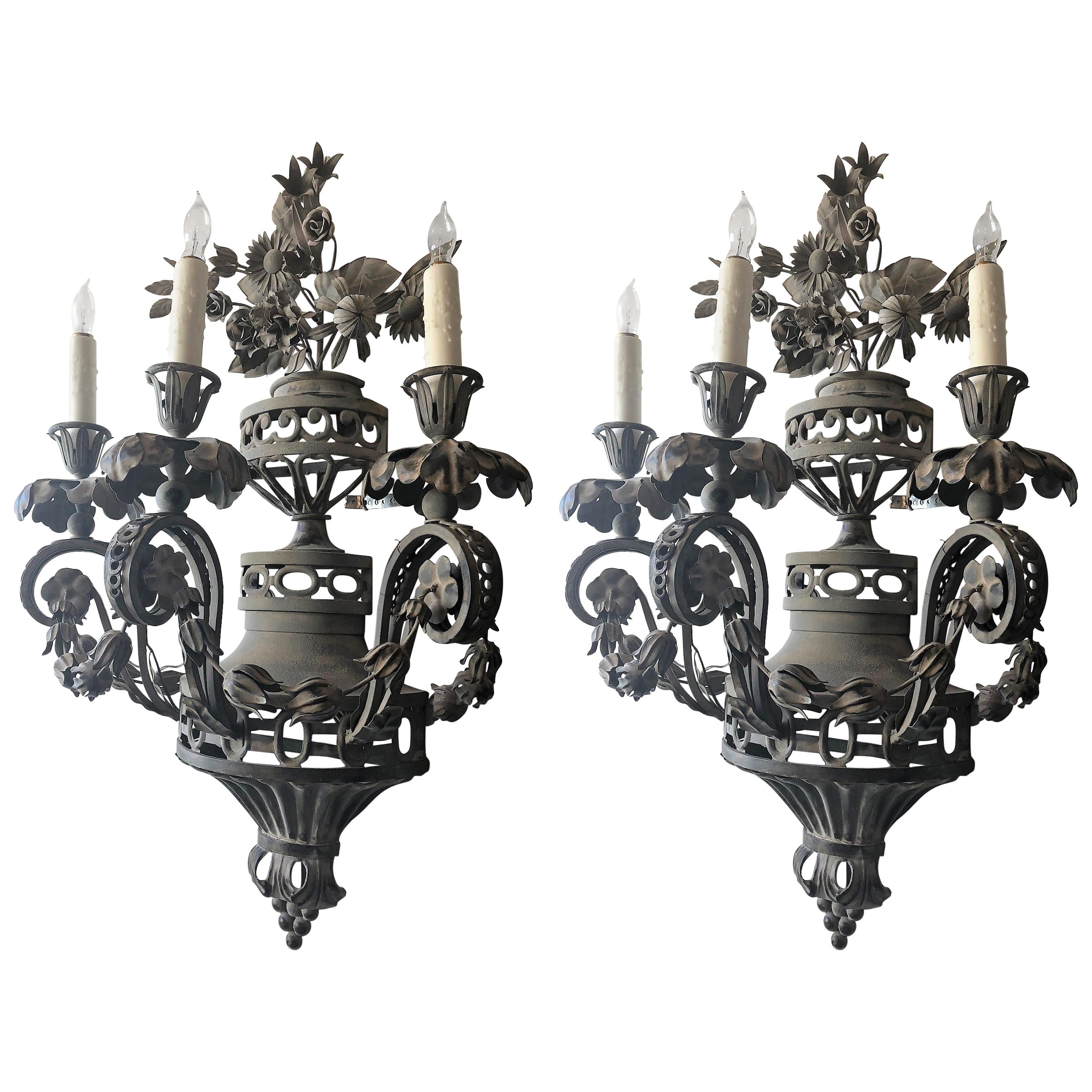 Pair of Tole French Wall Sconces
