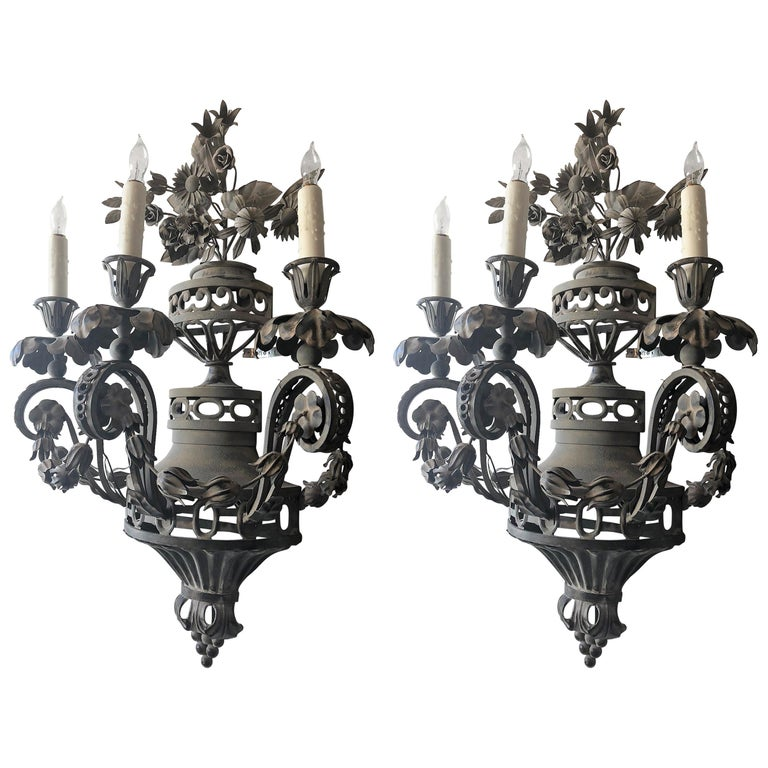 Pair of Tole French Wall Sconces For Sale