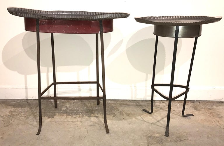 Folk Art Pair of Tole Gueridon Metal Side Tables with Crimped Piecrust Tops For Sale