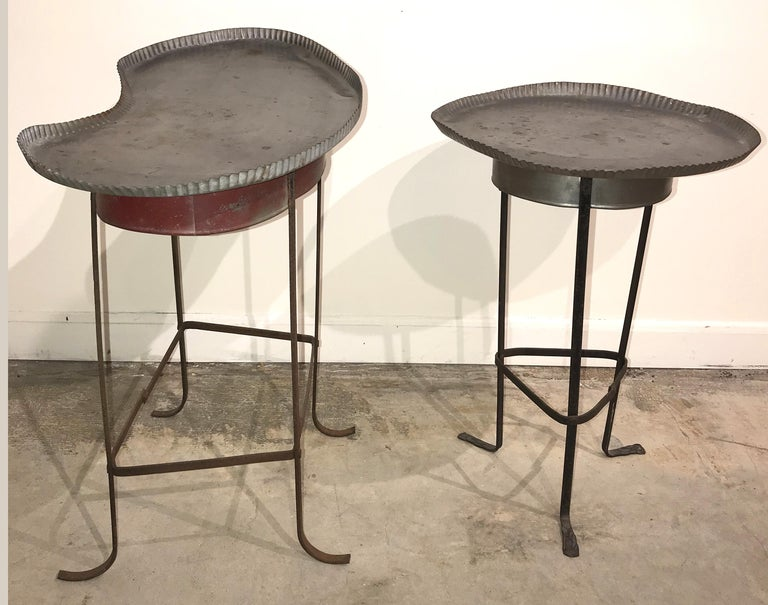 American Pair of Tole Gueridon Metal Side Tables with Crimped Piecrust Tops For Sale