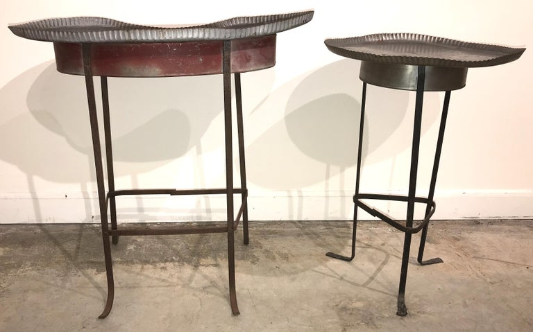 Forged Pair of Tole Gueridon Metal Side Tables with Crimped Piecrust Tops For Sale