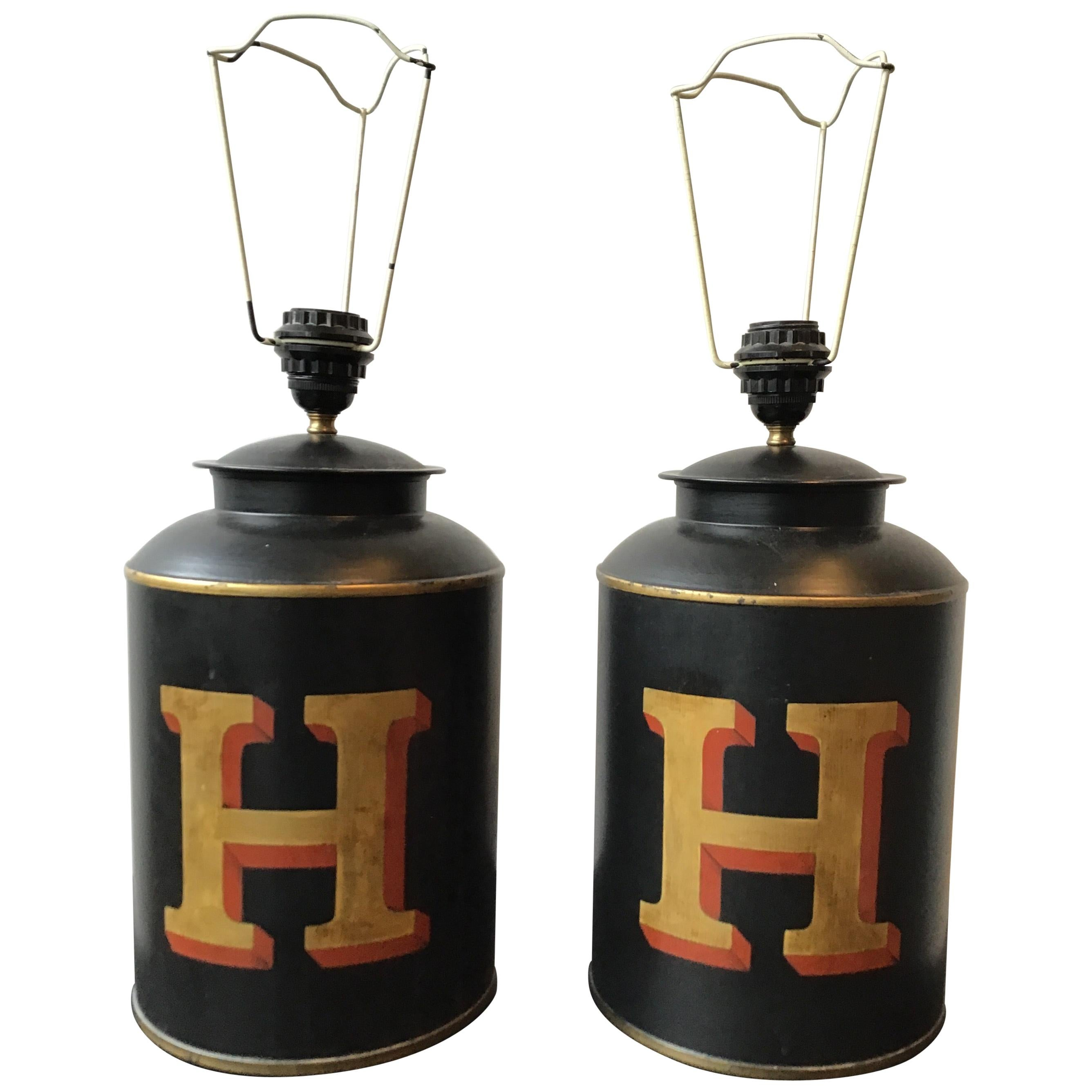 """Pair of Tole """"H"""" Tea Canister Lamps by Woolpit Interiors"""