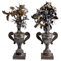 Pair of Tole Metal Flowers in Urns
