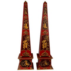 "A Pair of Chinoiserie Tôle Obelisks,  22.25"" Tall"