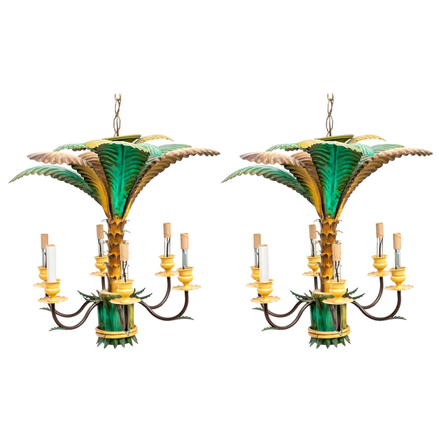 Pair of Tole Palm Tree Chandeliers