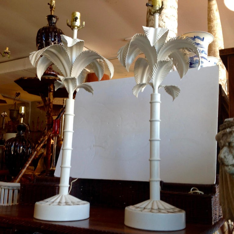Hand-Crafted Pair of Tole Palm Tree Lamps For Sale