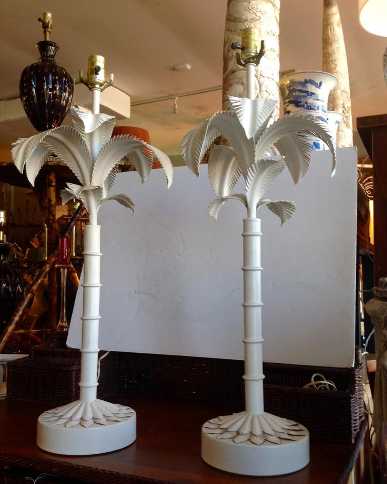 Mid-20th Century Pair of Tole Palm Tree Lamps For Sale