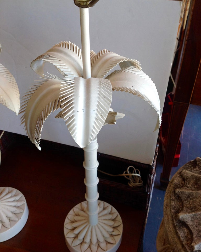 Tôle Pair of Tole Palm Tree Lamps For Sale