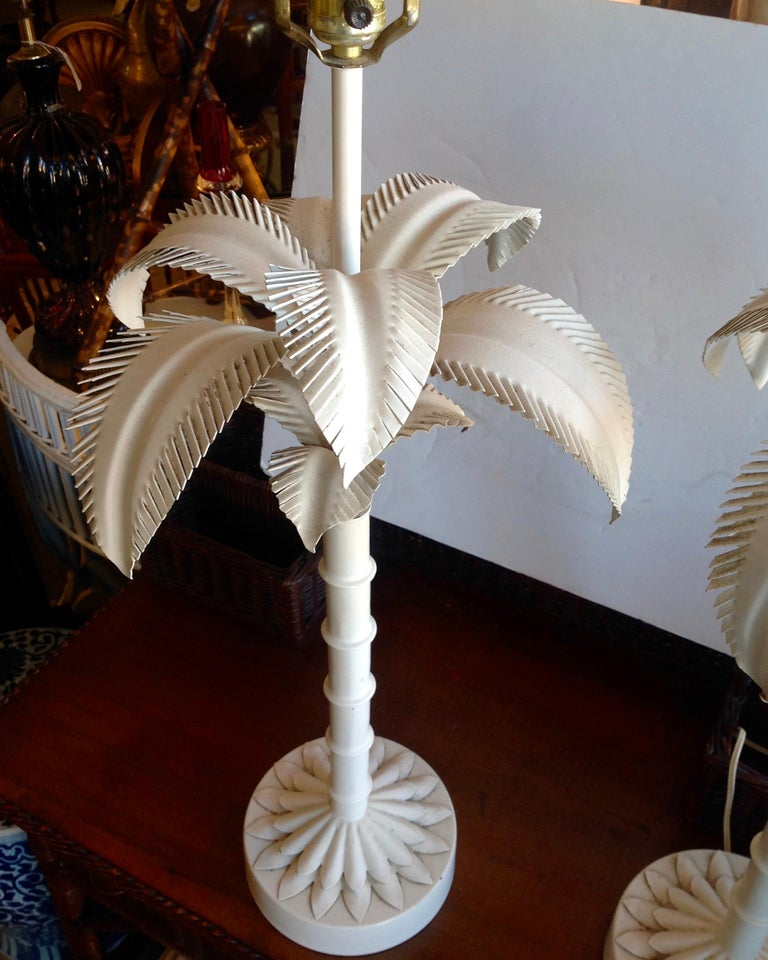 Pair of Tole Palm Tree Lamps For Sale 1