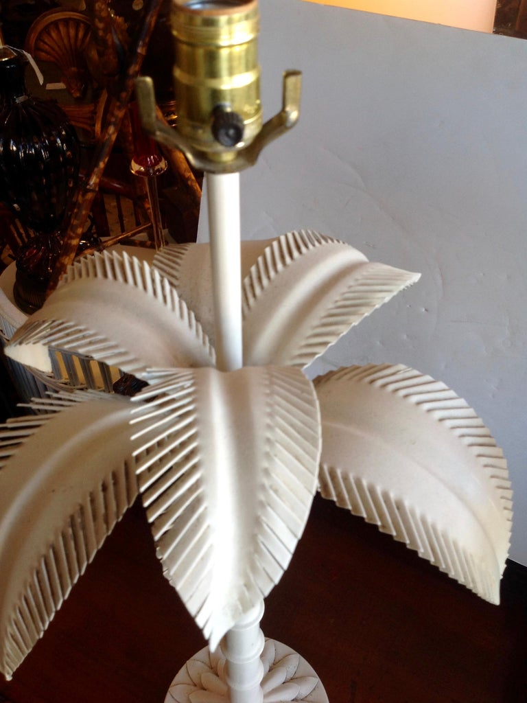 Pair of Tole Palm Tree Lamps For Sale 2