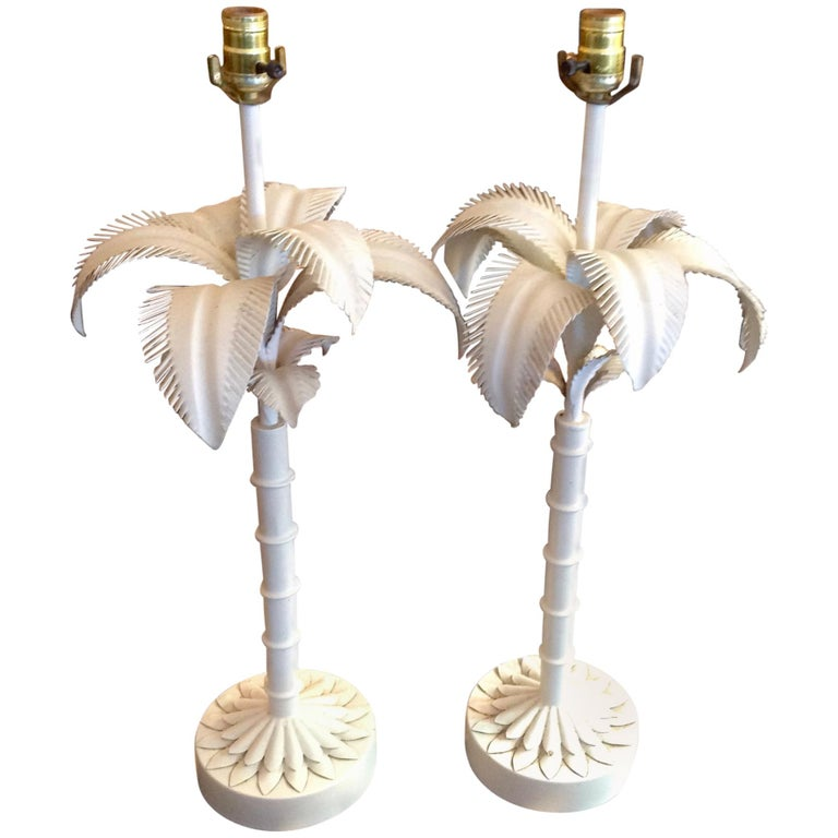 Pair of Tole Palm Tree Lamps For Sale