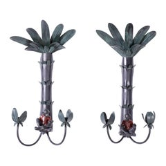 Pair of Tole Palm Tree Monkey Sconces