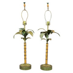 Pair of Tole Palm Tree Table Lamps