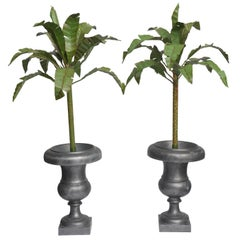 Pair of Tole Palm Trees in Urns