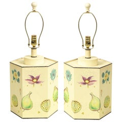 Pair of Tôle Peinte Botanical Table Lamps