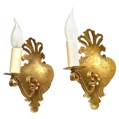 Pair of Tole Toleware Sconces Gilded Metal, Reindl Leuchten, 1960s, Germany