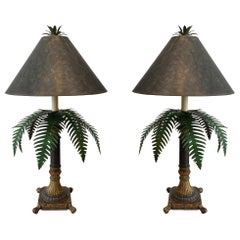 Pair of Tole Ware Palm Tree Table Lamps