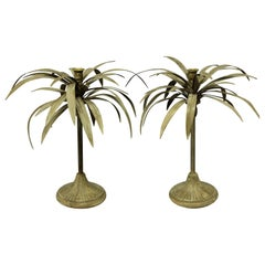 Pair of Toleware Palm Tree Candlesticks