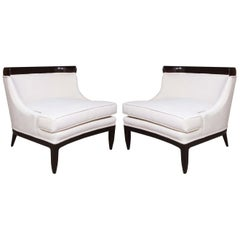 Pair of Tomlinson Sophisticate Ebonized Lounge Chairs by Erwin Lambeth