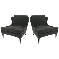 "Pair of Tomlinson ""Sophisticate"" Velvet Lounge Chairs"
