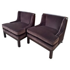 Pair of Tomlinson Style Chairs in Brown Mohair