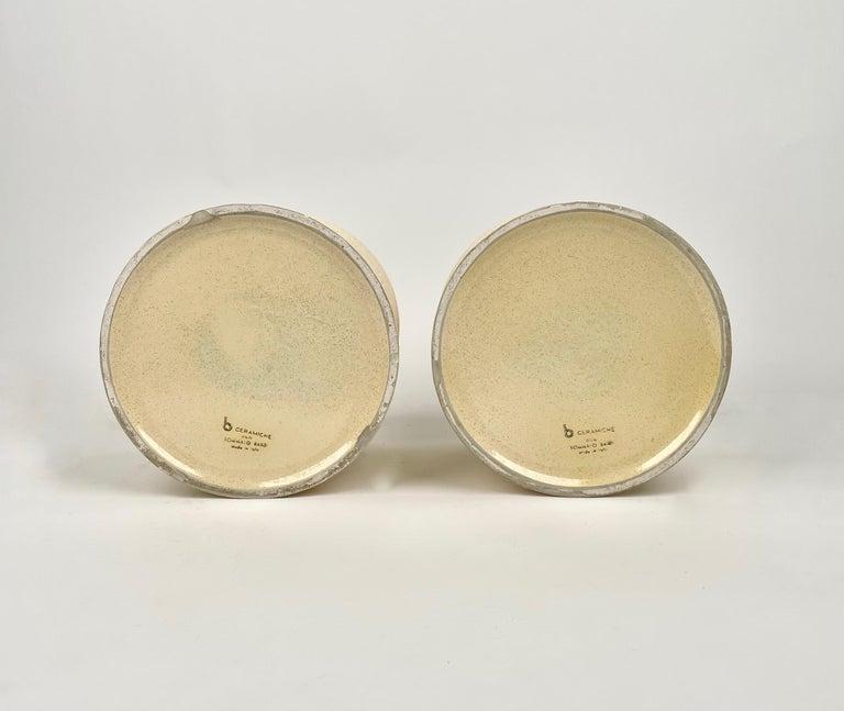Pair of Tommaso Barbi Beige Ceramic Vase, Italy, 1970s For Sale 4
