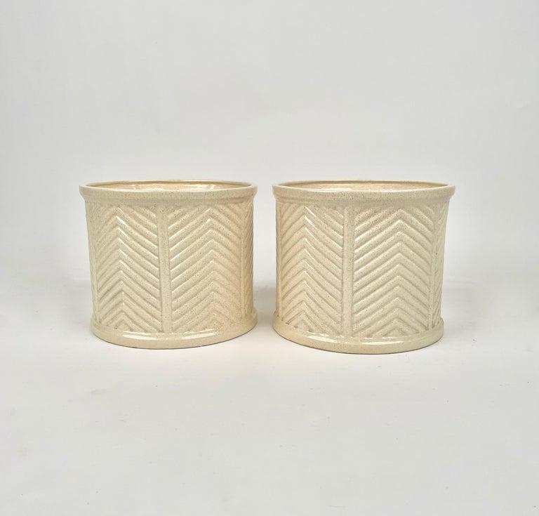Mid-Century Modern Pair of Tommaso Barbi Beige Ceramic Vase, Italy, 1970s For Sale
