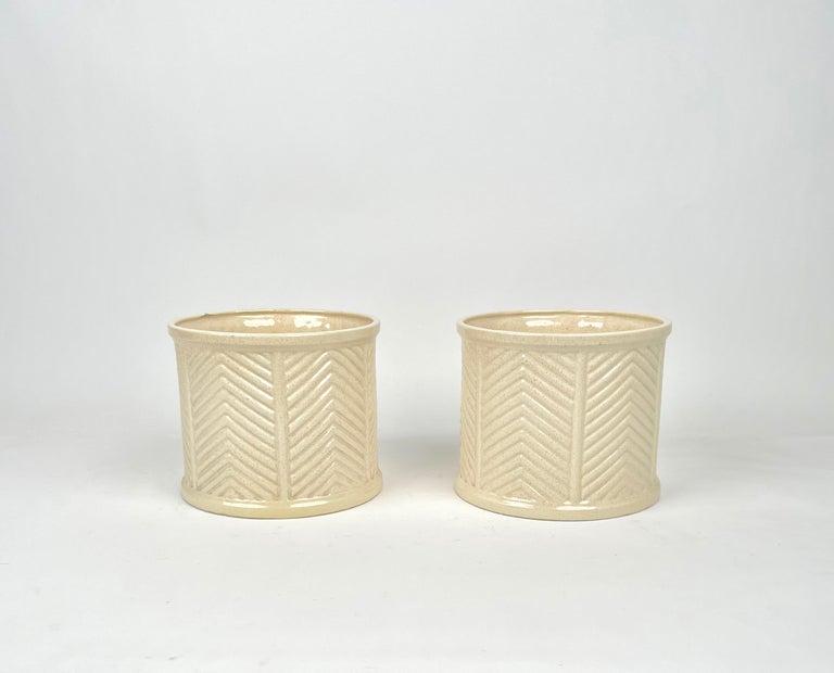 Italian Pair of Tommaso Barbi Beige Ceramic Vase, Italy, 1970s For Sale