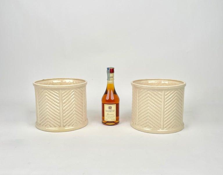 Pair of Tommaso Barbi Beige Ceramic Vase, Italy, 1970s For Sale 1