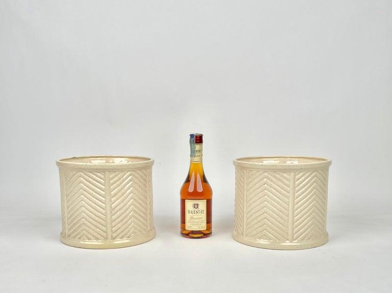 Pair of Tommaso Barbi Beige Ceramic Vase, Italy, 1970s For Sale 2