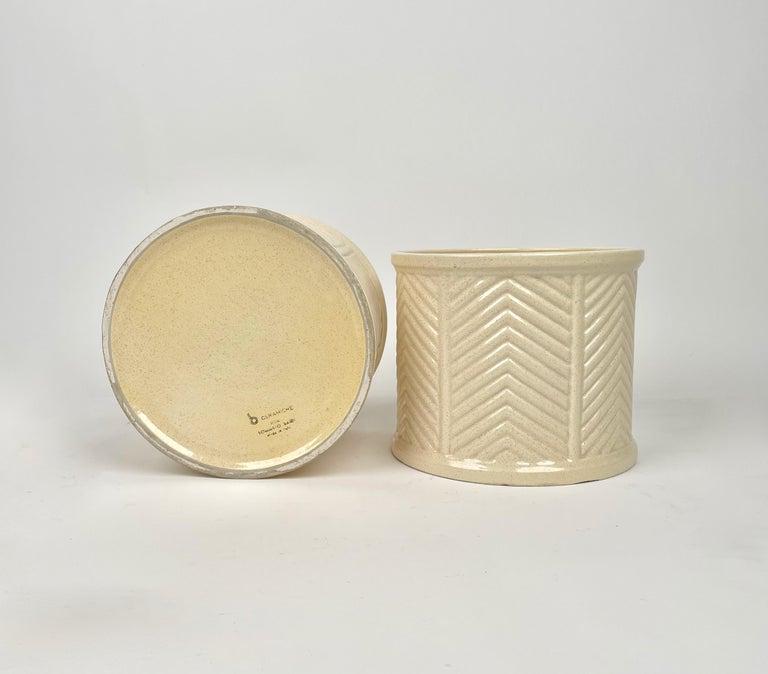 Pair of Tommaso Barbi Beige Ceramic Vase, Italy, 1970s For Sale 3