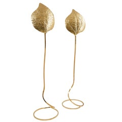 "Pair of Tommaso Barbi Brass ""Rabarbaro Leaf"" Floor Lamps, circa 1970, Milan"