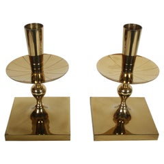 Pair of Tommi Parzinger Brass Candleholders Made by Dorlyn-Silversmiths