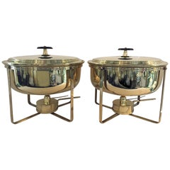 Pair of Tommi Parzinger Brass Dorlyn Silversmiths Chafing Dishes