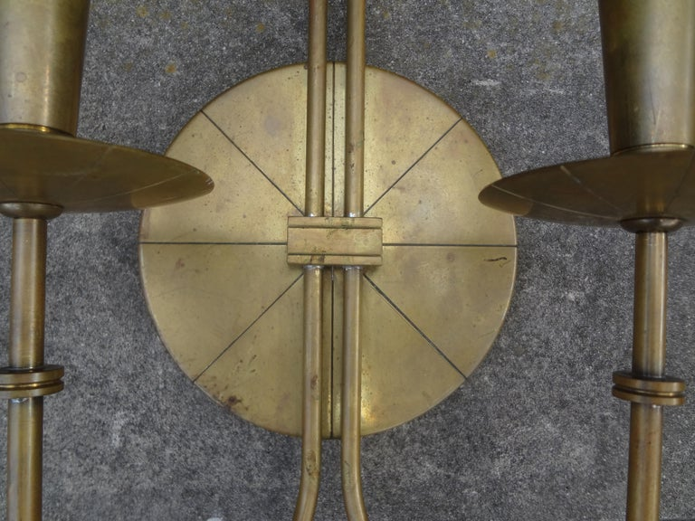 Mid-Century Modern Pair of Tommi Parzinger Brass Sconces For Sale