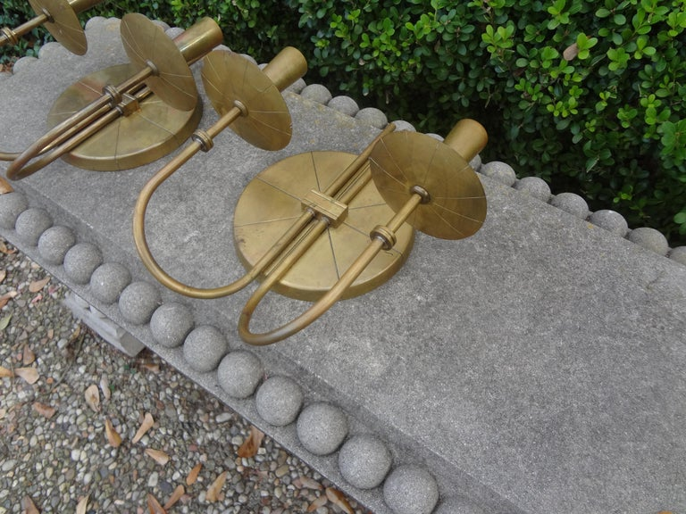 North American Pair of Tommi Parzinger Brass Sconces For Sale