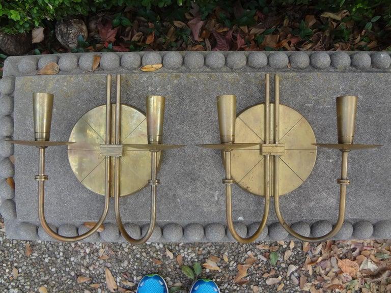 Pair of Tommi Parzinger Brass Sconces For Sale 1