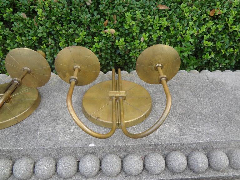 Pair of Tommi Parzinger Brass Sconces For Sale 2