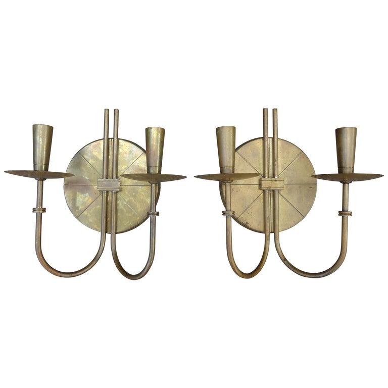 Pair of Tommi Parzinger Brass Sconces For Sale