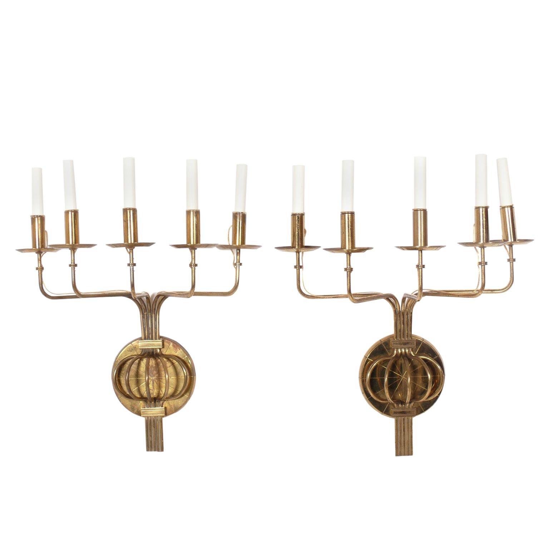 Pair of Tommi Parzinger Brass Sconces