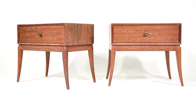 Pair of Tommi Parzinger Cerused Nightstands or Side Tables For Sale 4
