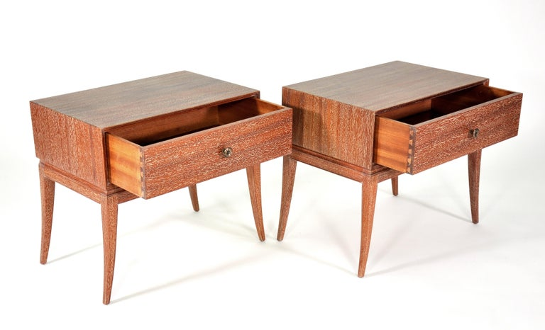 Pair of Tommi Parzinger Cerused Nightstands or Side Tables For Sale 5
