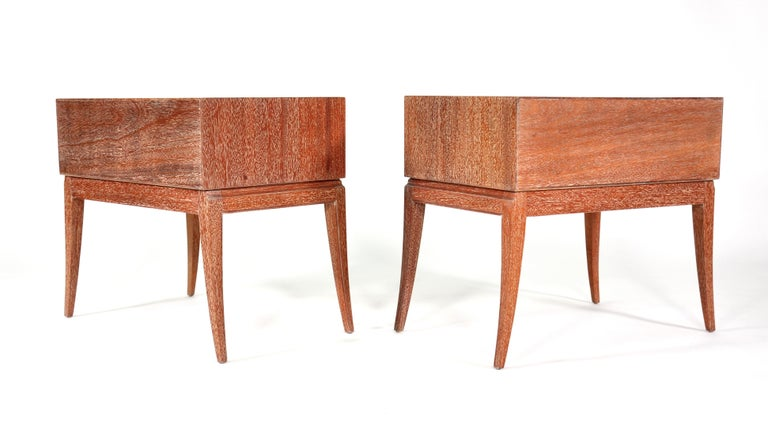 Pair of Tommi Parzinger Cerused Nightstands or Side Tables For Sale 6