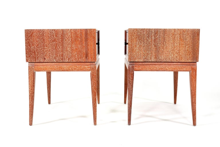 Pair of Tommi Parzinger Cerused Nightstands or Side Tables For Sale 7
