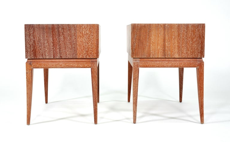 Pair of Tommi Parzinger Cerused Nightstands or Side Tables For Sale 8
